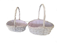 white gargen basket,decoration vase wicker basket, small basket cheap
