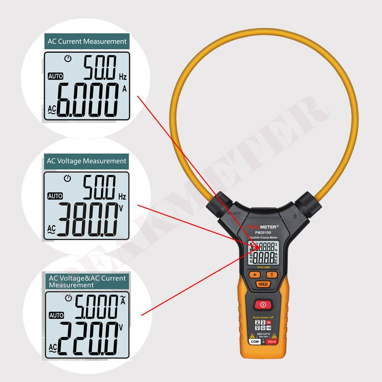 Max. 5999 Counts Smart True RMS Flexible Digital AC Clamp Meter 3000A PM2019S