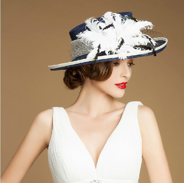Custom elegant women sinamay church hats for sales with feather