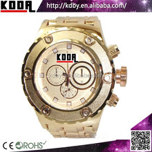 2015 Decorative Chronograph And Bezel Link Watch Copper Tone Watch For Men