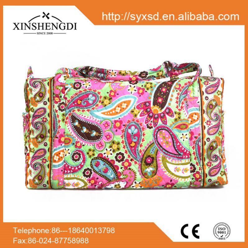 High quality designer eco ladies mini quilted cotton army duffle bag