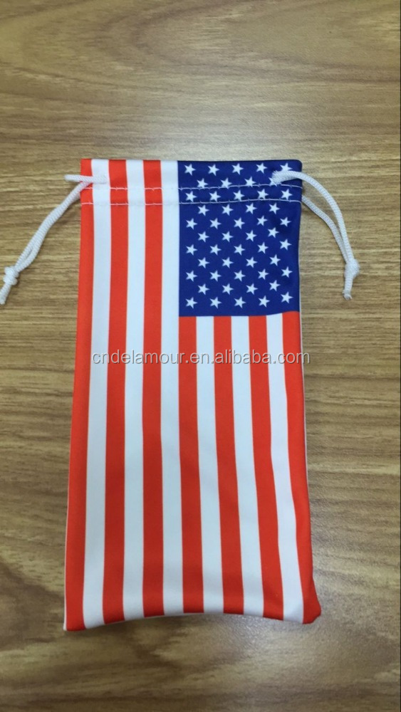 Cheap promotional US flag gift microfiber sunglasses pouch bag with customized logo printed DLO16C135-3