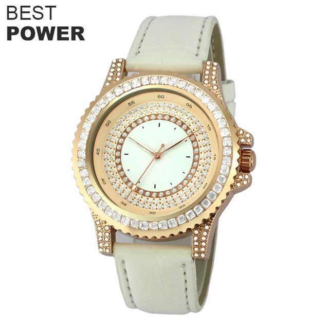 Beautiful Style Diamond Bezel White Genuine Belt Watch Big White Dial Quartz Watch
