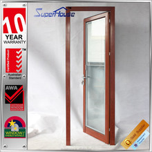 Customized wooden color Aluminium framed insulated single door design