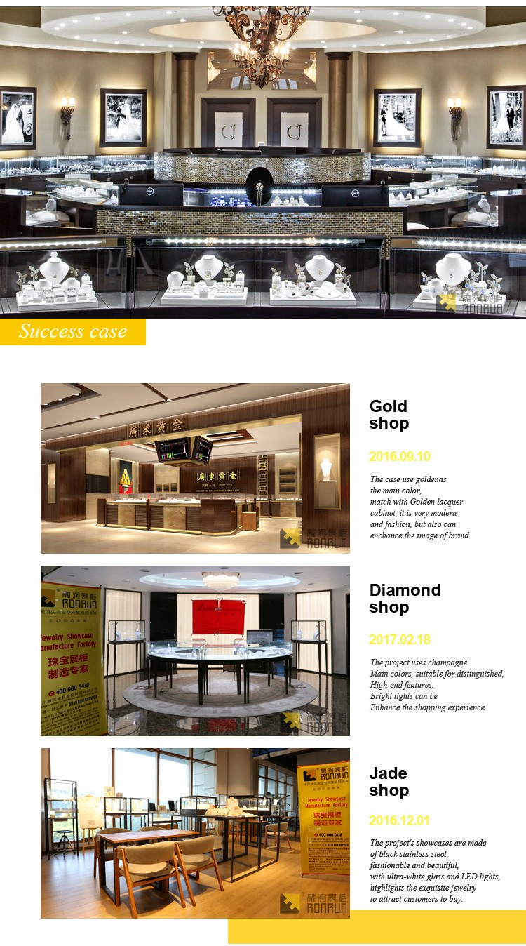 High-end gorgeous metal jewelry display showcase furniture design for jewelry shop interior design
