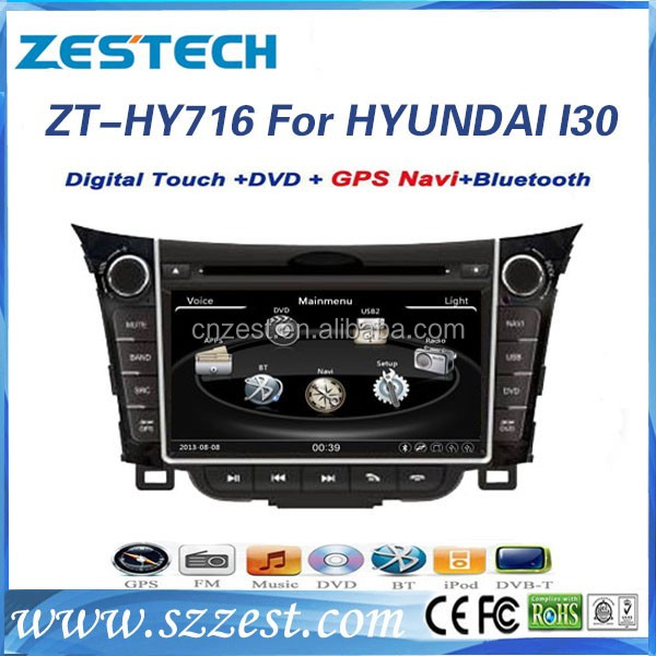 double din 7 inch car dvd player gps for Hyundai I30 2011 2012 2013 car dvd gps navigation+stereo cd player