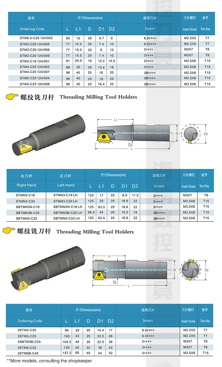 Heiner STM multi-tooth internal cooling thread cutter rod CNC milling cutter rod NC tool