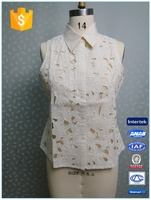 Ladies Sexy Cutwork Blouse Linen Sleeveless Shirt