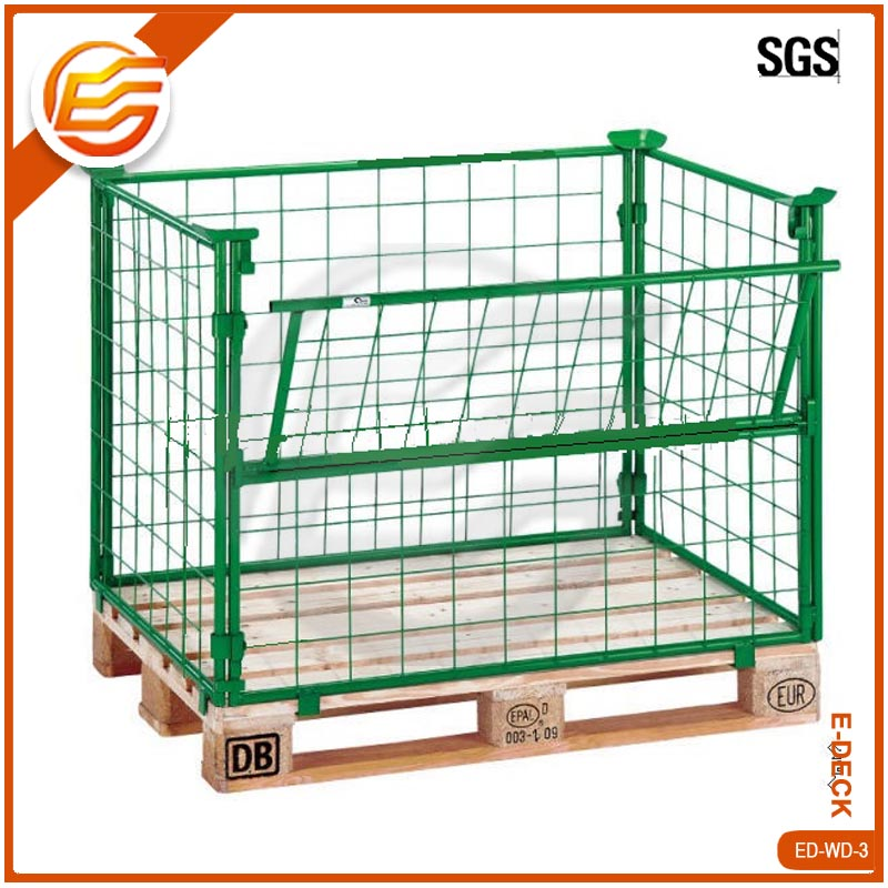 Warehouse stackable welded steel transport wire mesh pallet cage