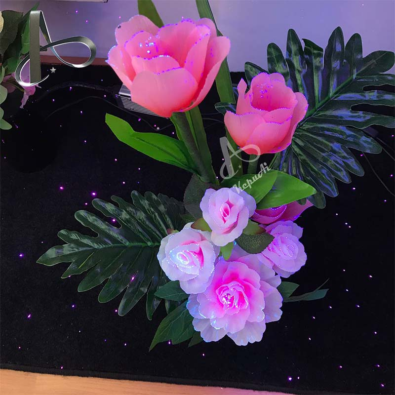 Indoor decoration LED lamp lights fiber optic flowers