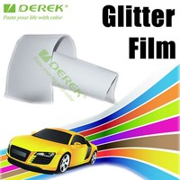 UV Stable PVC Car Sticker, White Glitter Vinyl Film Air Drain
