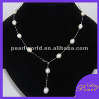 18'' A+ drop pearl alloy chain necklace for women PN163