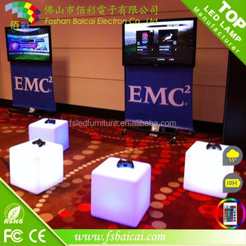Manufacturer directly small decorative led glowing cafe table