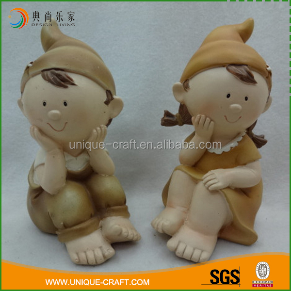 Professional custom samll brown color anime couple resin model kit figures