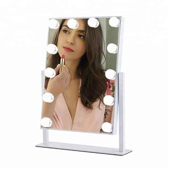 White Hollywood Makeup Mirror & Lighted Vanity Makeup Table Set with Smart Touch Adjustable LED Lights