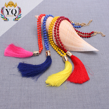 NYQ-00932 hot sell multi color long crystal glass prayer rosary bead necklace with boho silk tassel