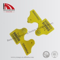 cow ear tag with metal pin in yellow 57*45 mm