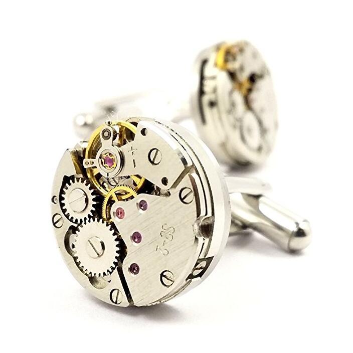 Jewelry quality swank gold watch movement cufflinks for men