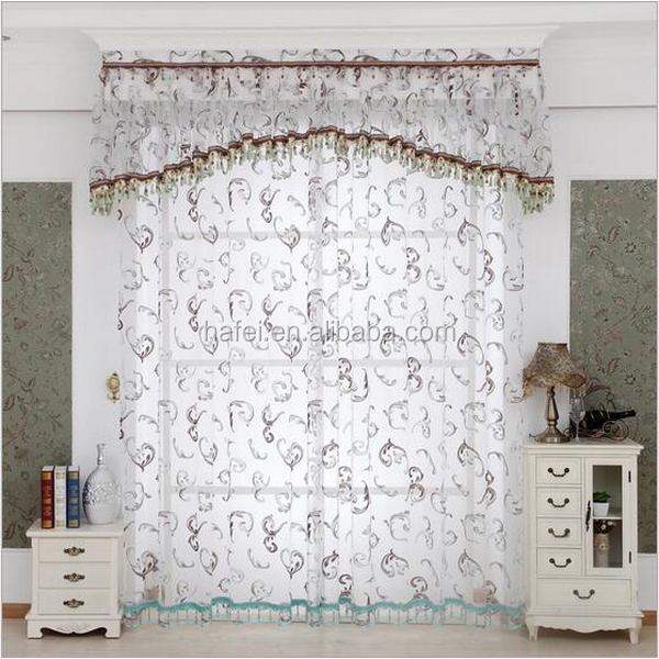 American style luxury embroidered sheer voile curtains with attached valance