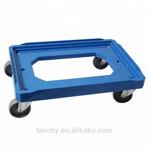 4 wheeled loading plastic moving container dolly