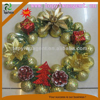 Merry Xmas bow FLOWER Holly Wreath Gold Holiday Gift Agent