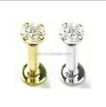 Gold Plated Labret internally threaded with Diamond Magnetic Lip Piercing