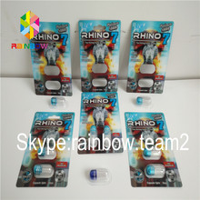 custom printed 3D card for man enhencement pills packaging/rhino 3d effect blister packaging card