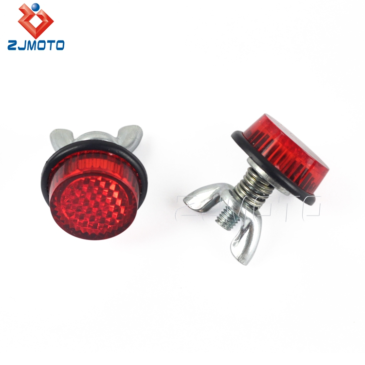 ZJMOTO Universal Plastic Round Metal Bolt Red Reflector License Plate Reflectors