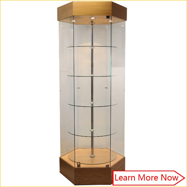 Made of mdf case jewelry display floor glass cabinet with lock