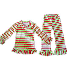 Spring Yawoo shirt collar long sleeves cotton there-color stripes top match the same kind of pant children boutique clothing