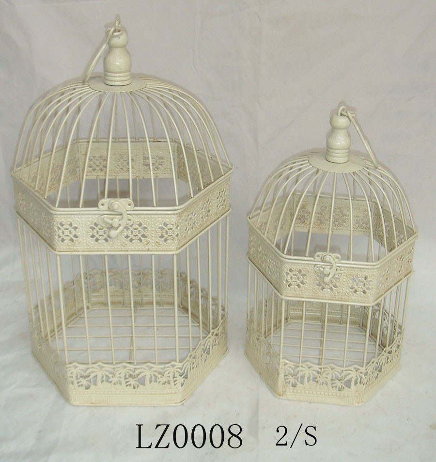 White Wedding Decorative Metal Hexagon Bird Cage