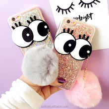 Luxury New Winter Big Eyes Fur Ball Pendant Glitter TPU Phone Cases for iPhone 6/6S plus 7 7plus Phone shell