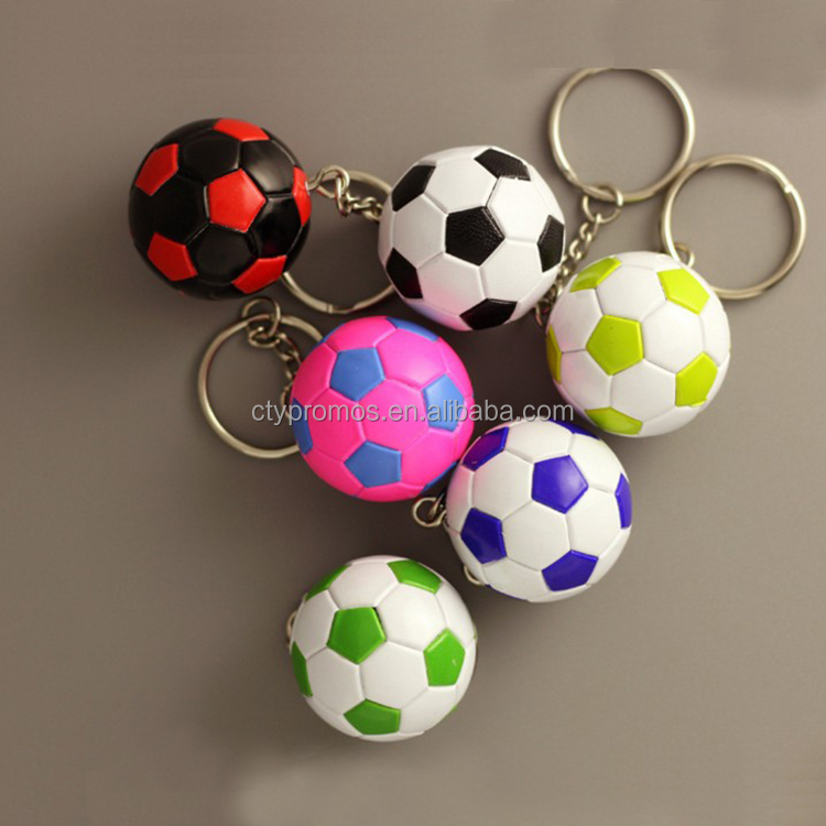 Promotional 2018 World Cup Mini Football Keychain Keyring, Multi Country 3d Plastic Football Key Chain