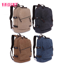 Wholesale Cheap Canvas Backpack Waxed Cotton Hiking Rucksack Trendy Laptop Backpack