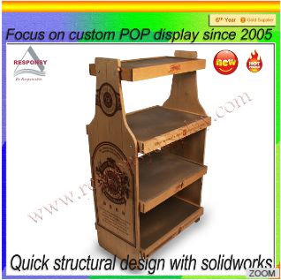Chinese small beer shaped wood liquor display stands