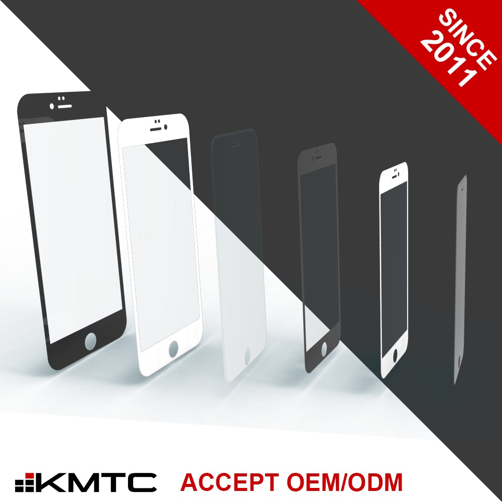 "KMTC OEM Anti Microbial Full Cover Glass Protector Screen for iphone 6 4.7"" BL"