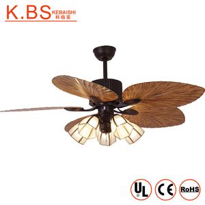 New Listing Outdoor Fan Lamp ABS Leaf Blade Natural Ceiling Fan With Light