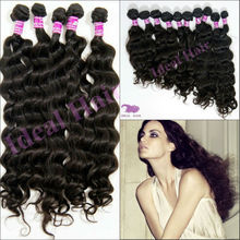 Different types 5a brazilian loose wave human hair extensions