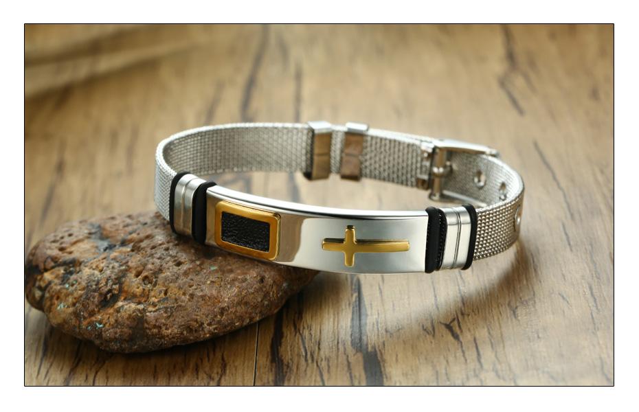 Meaeguet Stainless Steel Cross Charm Bracelet & Bangle Men Adjustable Watch Bands Wristband Bracelet Christian Jewelry (5)