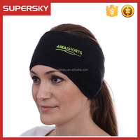 C758 Women Headband for Running and Exercise Yoga Sports Ear Warmer Ponytail Feature Comfortable Fleece Ear Warmer