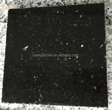 Gold Black Galaxy Granite Black Granite Polished Slabs Tiles