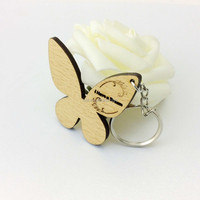Personalized wooden craved blank Butterfly Keychain