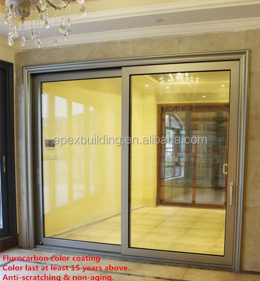 Main entrance living room veranda heavy duty glass for Sliding door for main door