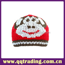 Animal kntted patterns eco-friendly skin baby cute free hand crochet beanie hat