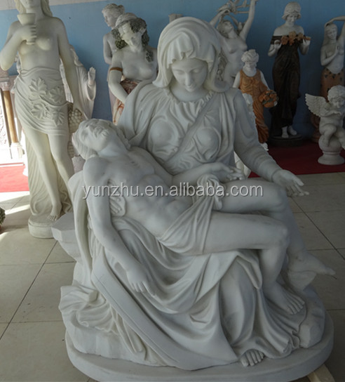 Hand Carved White Marble The Pieta Statue Sculpture