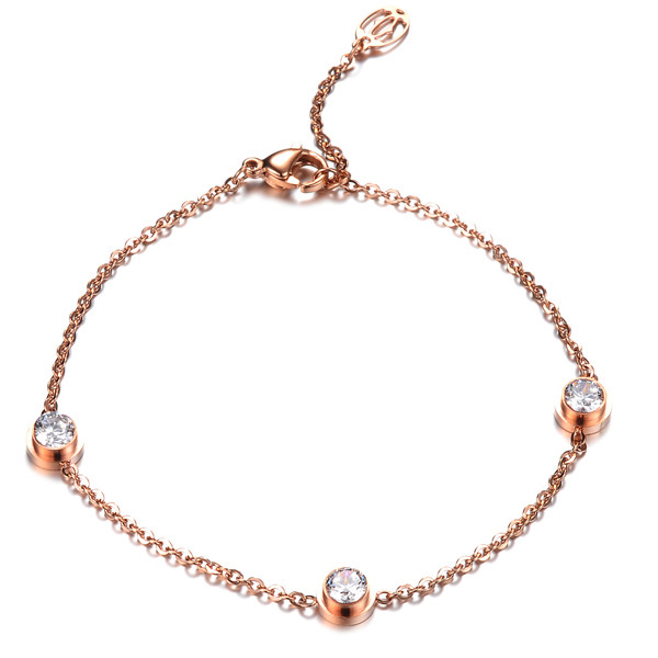 charm line diamond lady bracelet hot sale women jewelry accessories rose gold line style bracelet bangles