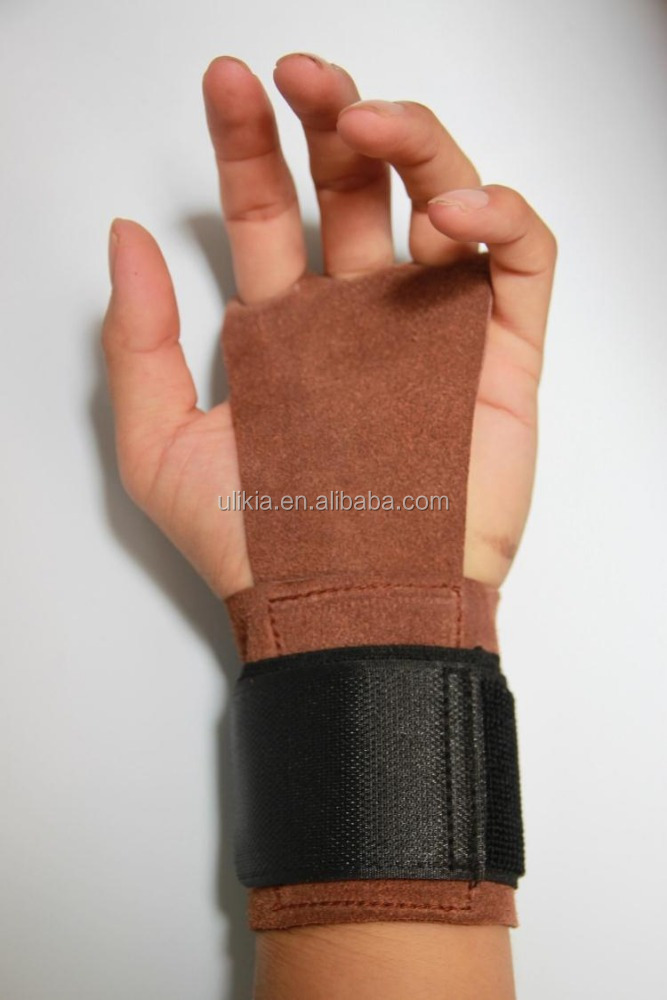 3 hole Leather Hand Grips with wrist support for Cross <strong>Fitness</strong>, Pull Ups, Kettlebell workouts, Barbell Training, Weightlifting