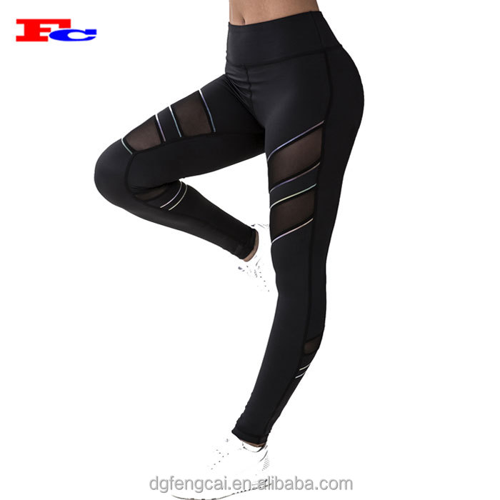 OEM Quick Drying Nylon Spandex Mesh Gym Yoga Pants Fitness Leggings For Women
