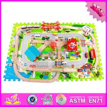 2015 hot sale Railway Train Toy educational toy for children,wooden children train toy set W04C009-S