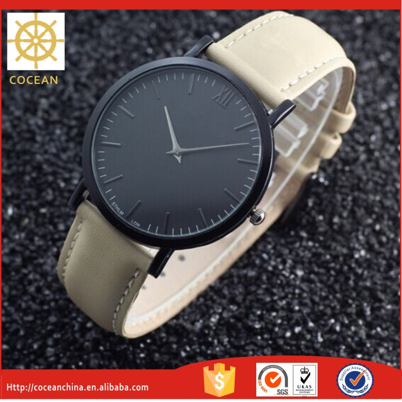 2016 The Hotest Modern Fashion Genuine Leather Customer Logo Is Welcome Wrist Watch With Stainless Steel